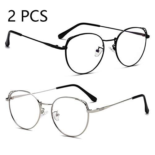 Anti-Blu-Ray-Brille, Stilvolle Große Rahmen Metall Männer Und Frauen Brillengestell, Strahlungsfeste Computerbrille (2PCS),c1+c3