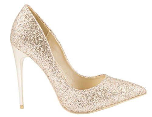 Elara Damen Pumps | Trendige Spitze Stilettos | High Heels Gold Noir