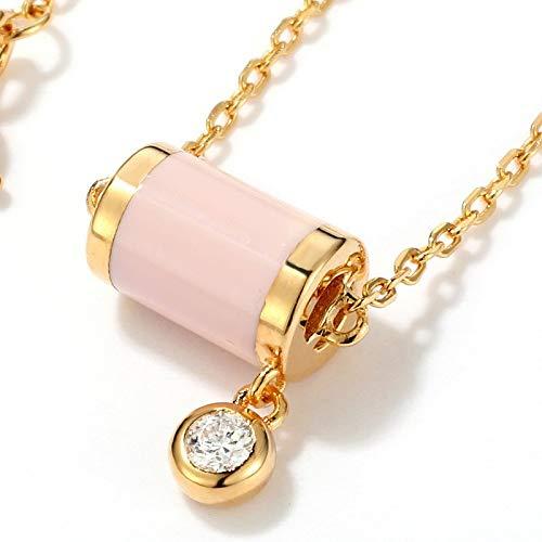 Horizonc S925 Silber überzogene Einfache Art Und Weise Zylinder Tropfen Rosa Öl Weiß Zirkonium Halskette Schlaf Magie Fee Prinzessin Anhänger Damen Halskette -