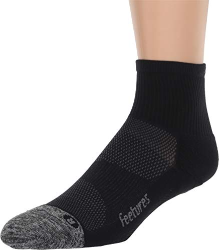 Feetures - Elite Light Cushion - Quarter - Athletic Running Socks for Men and Women - Black - Size Large