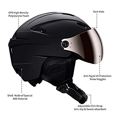 Kuyou Ski Helmets Snow Helmet with Detachable Ski Goggles Lens -EN1077 Certified Safety, Dial Fit, Warm Fluff Earpads Snowboard Helmet for Men, Women & Youth by KUYOU