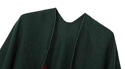 Urbancoco Damen Winter Kariert Capes Patchwork Strickjacke Winterschal Poncho Stola grün #14