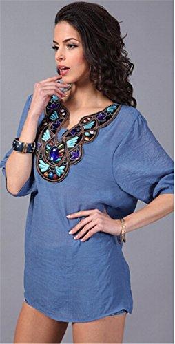 QIYUN.Z (TM) Femmes Manches 3/4 Broderie Col V En Coton Melange Occasionnels Tops Amples Blouses Denim Blue