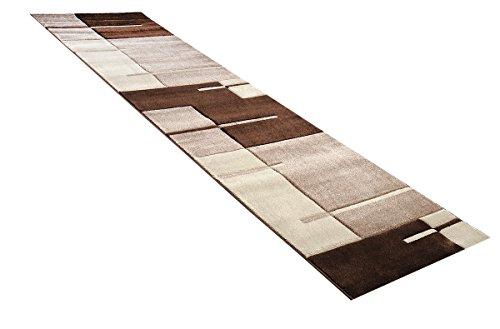 Teppich Läufer Modern Art Karos / Linien braun in 80 x 300 cm