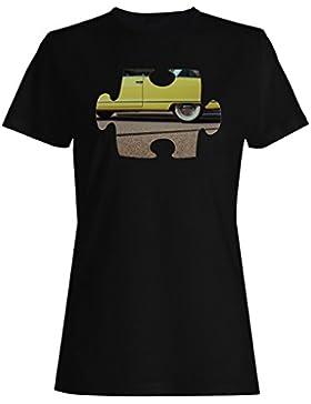Rompecabezas viejo vintage hermoso coche camiseta de las mujeres e579f