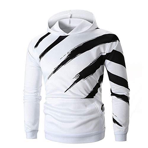 Herren Langarm Gestreift Kapuzenpullover Outwear Festlich Sweatshirt Bekleidung Kapuze Mit Hoodie Streetwear Rh 035 Oberteile (Color : Weiß, Size : Eu-50/Cn-2Xl) -