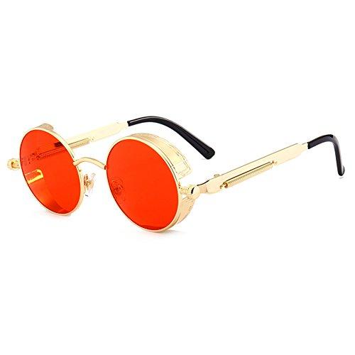 Männer Frauen Punk Runde Shades UV400 juqilu Gothic Steampunk Sonnenbrille C5