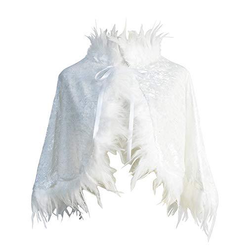 Homelex Damen Gothic Weiß Samt Echte Federn Quaste Capes Hochzeit Schal Umhang (YM-28) (Der Alte Mann Bis Halloween Kostüm)