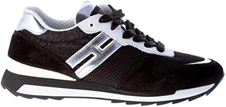 Hogan Donna Donna Donna R261 scarpe da ginnastica in camoscio e Tessuto Nero più Bianco ed argentoo   Nuovo Prodotto    Maschio/Ragazze Scarpa  77949d