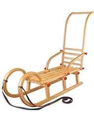 2107 Hörnerschlitten piston luge rodel luge pliable en bois, longueur :  110 cm
