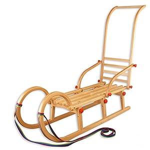 Erst-Holz 21-110-Stange Hörnerschlitten klappbar 110 cm mit Schubstange, Rodel, Schlitten Holzschlitten Rodelschlitten