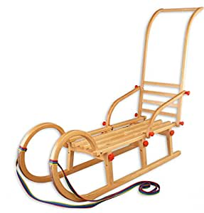 Erst-Holz® 21-110-Stange Hörnerschlitten klappbar 110 cm mit Schubstange, Rodel, Schlitten Holzschlitten Rodelschlitten