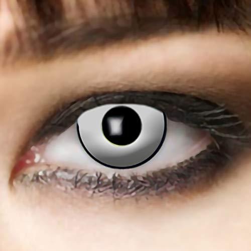 3-Monatslinsen WHITE MANSON, weiße Zombie Kontaktlinsen, Crazy Funlinsen, Halloween, Fastnacht, weiß ...