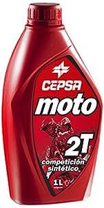 CEPSA 515794187 Moto 2T Compétition Huile Synthétique pour Moteurs à 2 Temps, 1 L