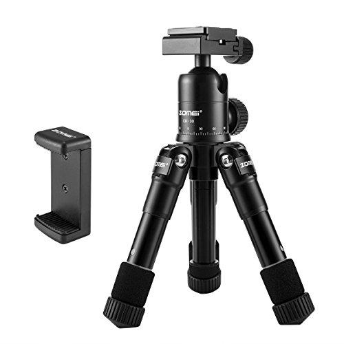 ZOMEi Mini Stativ Handy CK-30 Klein Kamera Stativ mit Kostenlose Handy-Handy-Halter und Robust Kugelkopf für Canon Nikon Digitale Spiegelreflexkamera and Smartphone