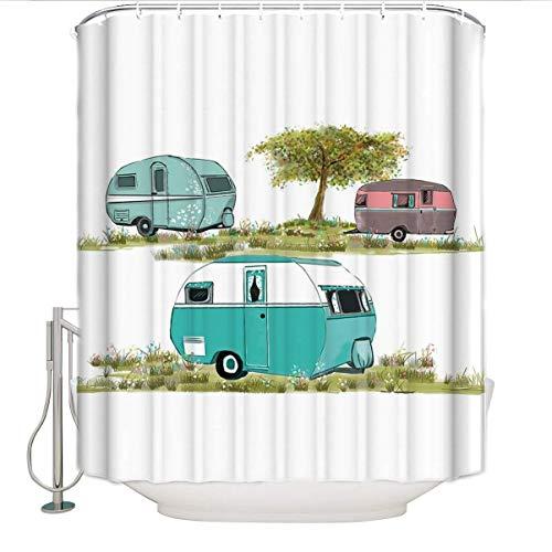 1998Retro Camping Dusche Vorhang Vintage Travel Trailer Decor 48x72 Multi ()