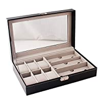 AmandaJ Leather Watch Jewelry Box for 6 Watches & 3 Sunglasses Glasses, Watch Jewelry Display Storage Box Case Organizer, Black