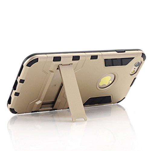 Coque iPhone 6/6S OuDu Housse à Armure en PC et TPU pour iPhone 6/6S Etui Caoutchouc Soft Silicone Frame Case Hard Back Cover Heavy-Duty Dual-Layer Bumper with Logo Cutout Coque Flexible Lisse Housse  Or