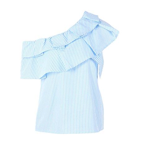 Smile YKK One-Shoulder Gestreift Sommer Damen Kurzarm Shirt/T-shirts/Oberteil/Hemd Blau