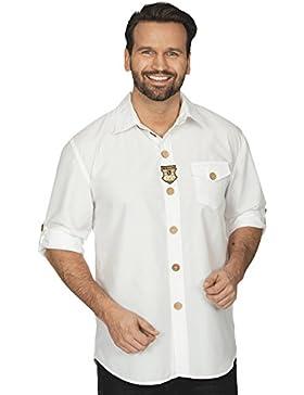 Trachten Hemd zum Oktoberfest mit Hornknöpfen Alpen Aufnäher weiß kurz und lang tragbar