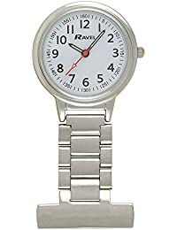Ravel Large Case Nurses Chrome Unisex Quartz Watch with White Dial Analogue Display and Silver Alloy FOB Watch R1101.10
