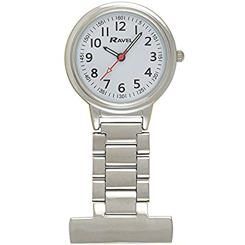 Ravel Large Case Nurses Chrome Unisex Quartz Watch with White Dial Analogue Display and Silver Alloy FOB Watch