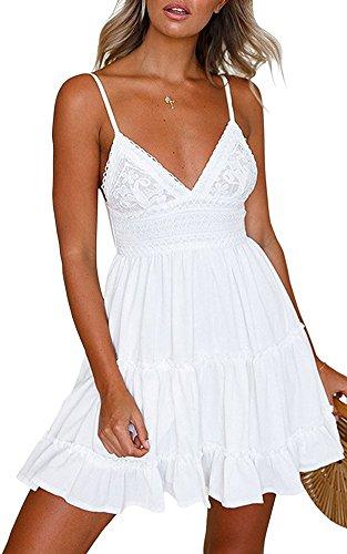 Minetom Damen Weiß Boho V Ausschnitt Spitzenkleid Träger Rückenfreies Kleider Sommerkleider Strandkleider Minikleid Weiß DE 34 (Rückenfreies Spitzenkleid)