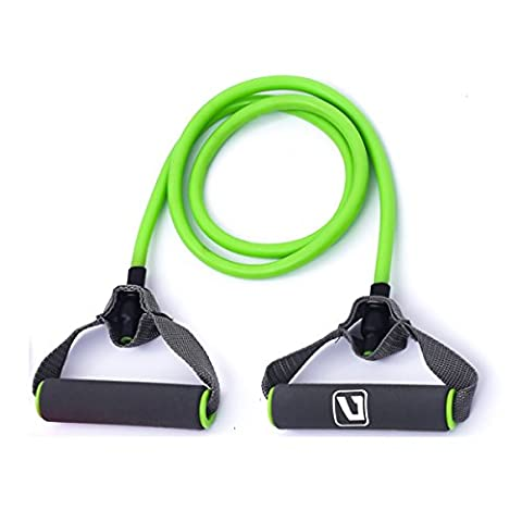 Liveup SPORTS Toning Tube Resistance Bands / Cord Pulley TPR Foam For Exercise Fitness Pilates Strength Training with Foam Handles Green - 20lb