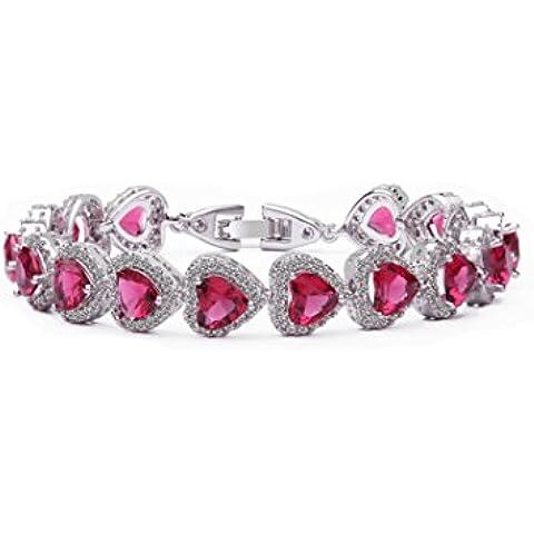 Bracciale da donna, in cristallo di Boemia a forma di cuore, placcata al rodio, spediti in una lussuosa scatola-regalo