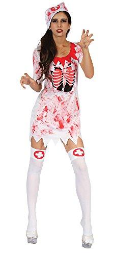 7 Blutige Krankenschwester Kostüm, Weiß, UK 10-14 ()