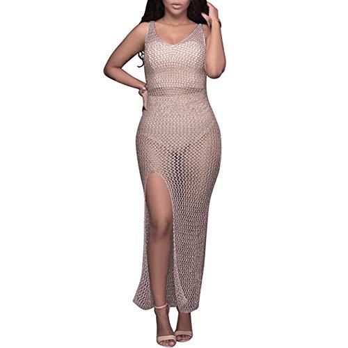 Frauen Sexy Perspective Badeanzug Sommer Vertuschung Sheer Crochet Maxi Kleider Aushöhlen High Slit Beach Dress Bikini Vertuschung Plus Size (S)