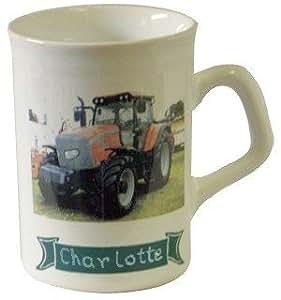 Personalise tasse en poterie decore avec dessin de tracteur Massey Ferguson. Nom grave gratuitement.(12 lettres maximum) sur le bande verte comme indique. SVP pour commande le NOM : veuillez bien suivre les etapes ci-dessous.