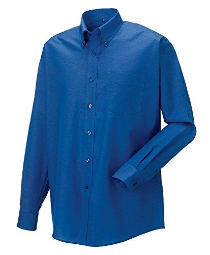 Russell Collection! Pflegeleichtes Langarm Oxford Hemd auch in Übergrößen Aztec Blue