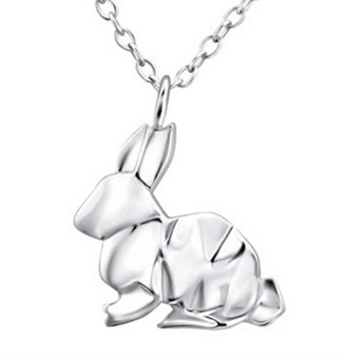 FaithOwl Origami Hase Anhänger Kette Halskette aus 925 Sterling Silber