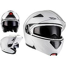 MOTO F19 Matt White · Scooter Urbano Sport Moto Modular-Helmet Integrale Casco da motocicletta modulare Urban Flip-Up Cruiser · ECE certificado · dos viseras incluidas · incluyendo bolsa de casco · Blanco · M (57-58cm)