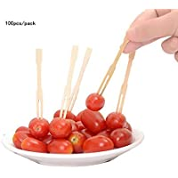 Eco-Friendly - 200 tenedores de bambú para fiesta, 3,5 pulgadas, mini tenedores de madera, pinchos de fruta, para fiesta, bufé, catering, cóctel