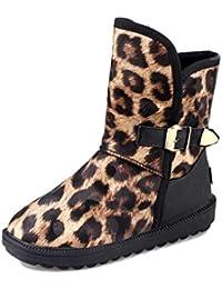 3b5bc74b95d2f SHANGWU Botas de Nieve de Felpa para Mujer Botas de Invierno para Mujer  Estampado de Leopardo de Lujo Tacón bajo Correa con Hebilla Botines de…