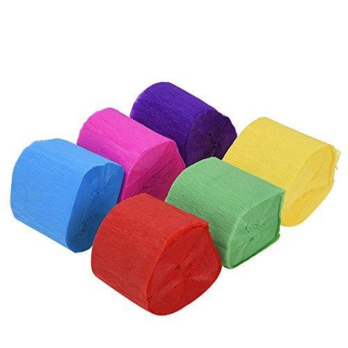 Outus Krepp Papier Streamer 6 Farben, 4.5 cm x 9 m (6 Rollen)