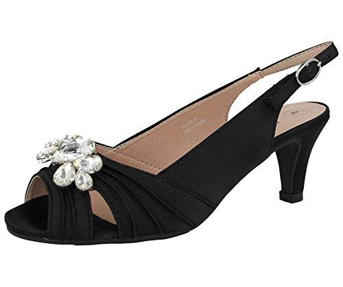 Comfort plus, missouri - sandali da donna in raso con strass, mezzo tacco a stiletto, cinturino posteriore, pianta larga, scarpe ideali per matrimonio, nero (black), 35.5