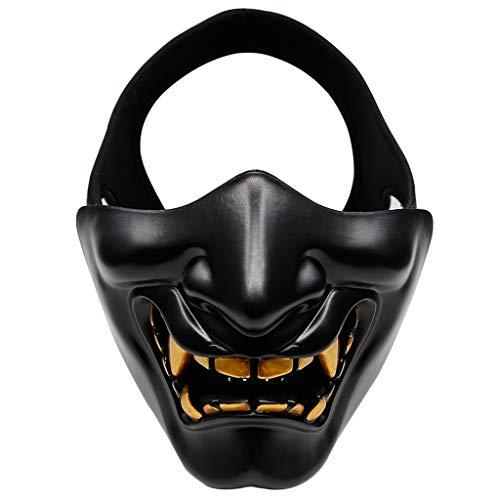Tote Katze Kostüm Halb - Hffan Halloween Maske Halbe Gesichtsmaske Cosplay Samurai Teufel Taktische Halloween Party Festival Prom Lacht Wie Cosplay Teufel Horror Weiblich Erwachsen Männlich Gesicht Halbes Gesicht