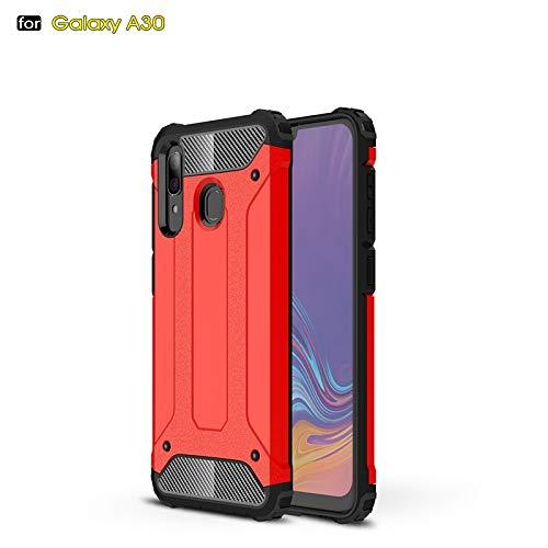 r Für Samsung Galaxy a20 / a30 dual Layer Heavy Duty hybrid rüstung robuste Art stoßfest pc + TPU schutzhülle Hard case (Farbe : Rot) ()
