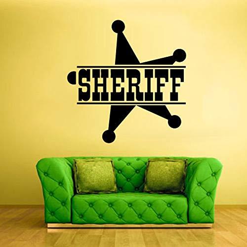 Sheriff Zeichen Stern Wörter Symbol Polizei Wandaufkleber für Wohnzimmer Kunst Dekoration Vinyl Wandtattoos Schlafzimmer Home Wandbilder 57X57CM