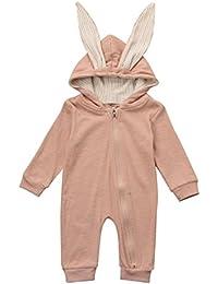 Logobeing Recién Nacido Infantil Bebé Pijama de Algodón Conejo 3D Oreja  CáLido Mameluco con Capucha Ropa 9a9a08e3f73f