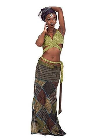 Long Hippy Patchwork Skirt, Boho Hippie Wrap Skirt, Bohemian Ethnic Festival Goa (Mushroom)