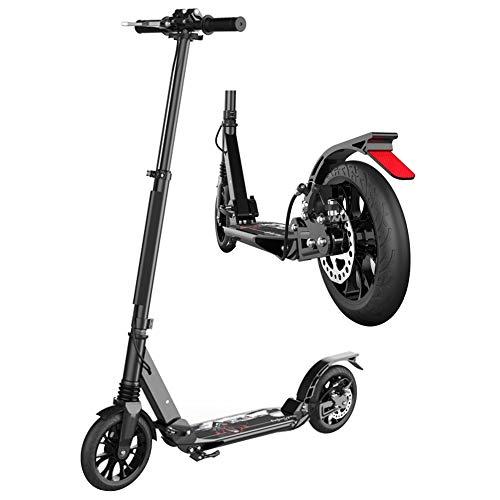 Roller Erwachsene, Adult Kick Scooter mit Doppelfederung, Big Wheels Vorderradbremse Scooter faltbar für den Pendelverkehr, Verstellbarer Lenker, Unterstützt 150 kg (Color : Black)