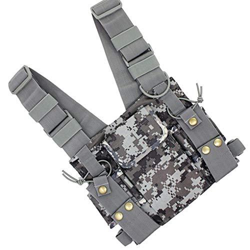 Preisvergleich Produktbild Morelyfish Camouflage Radio Chest Harness Chest Front Pack Pouch Vest Rig Replacment for 2 Way Radio Walkie Talkie