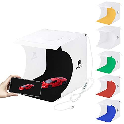 Huanxin Foto-Studio-Licht Box Portable Folding Fotografie Licht-Zelt-Kit Mit LED-Leuchten, 9.4 X 9.1 X8.7/24 X 23 X22cm Mit 6 Farben Hintergründen -