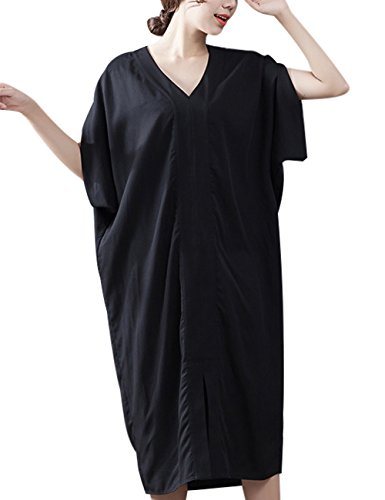 58234b4546b0 Youlee Donna Estate V Collo Batwing Manica Vestito Nero ...
