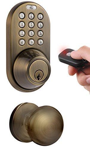 MiLocks XFK-02AQ Digital Deadbolt Door Lock and Passage Knob Combo with Keyless Entry via Remote Control and Keypad Code for Exterior Doors, Antique Brass by MiLocks -