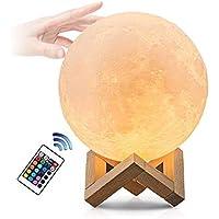 luna lampara, LED Lámpara de Luna con 16 colores touch/remoto control USB recargable Luz de Noche para Niños Bebé Dormitorio Café Bar Regalo de Fiesta Decoración, 12cm